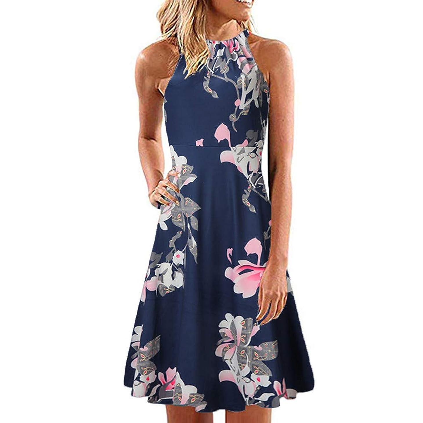 ?HebeTop? Women's Floral Maxi Dresses Boho V Neck Split Beach Party Dress