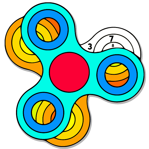 Fidget Spinner Color by Number - Grownups Coloring Book Pages