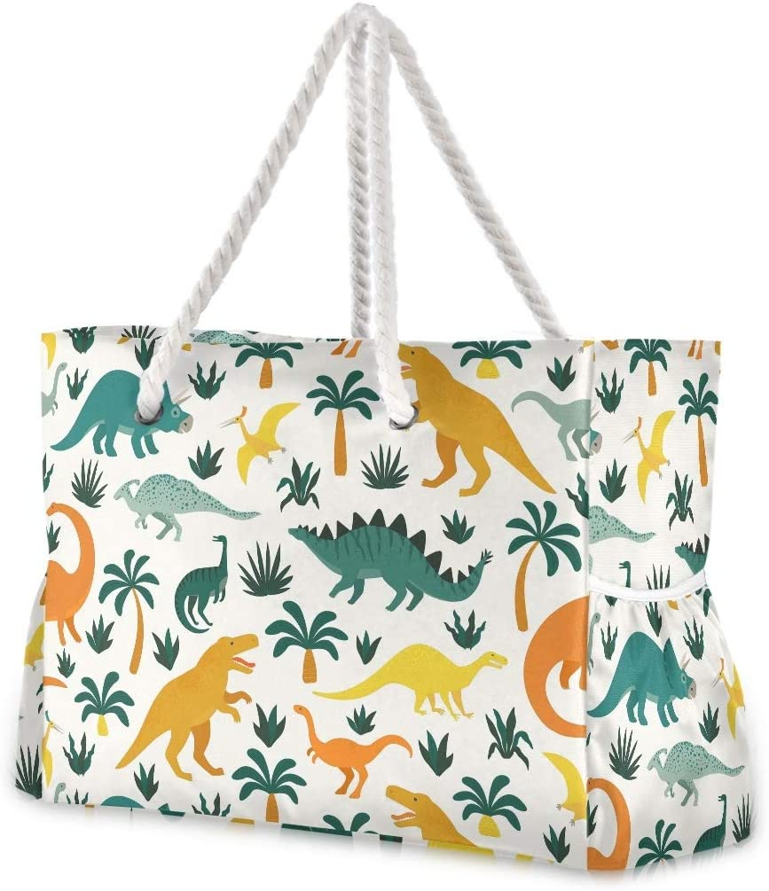 SUABO Travel Beach Bag Pattern With Dinosaurs Shoulder Ranking TOP20 Max 88% OFF Large Be