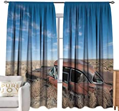 burgundy curtains Cars Decor Collection,Old Rustic Rusty Automobile in the Middle of New Mexico Bushes Ghost Town Vehicle Theme Print,Tan Blue W96
