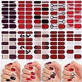 MWOOT Smalto Adesivo per Unghie, 10 Fogli Adesivo Unghie Nail Art, Decalcomanie Autoadesive per Unghie - Rosso Nail Wraps Sticker
