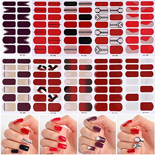 MWOOT Selbstklebend Nagelfolie Sticker (10Stk), DIY Nagelkunst Nagel Sticker, Schnell&Einfach Maniküre Nagelaufkleber. Nageldesign Klebefolien -Rot Stil Nail Art Wraps Sticker