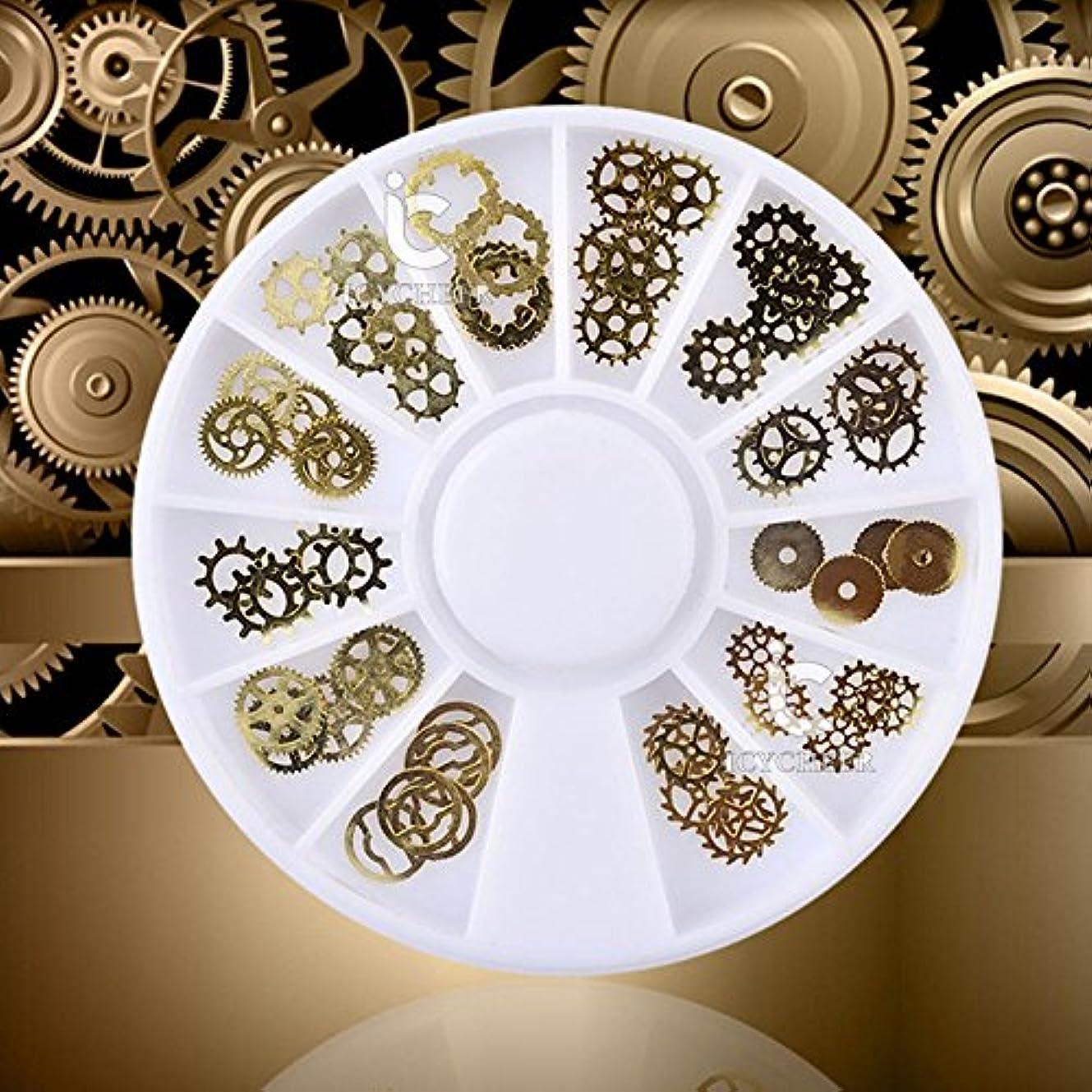 リム人工的な無傷ICYCHEER 超薄型スチームパンクネイルアート3dデコレーションホイールスチームパンクギア金属スタッドdiy