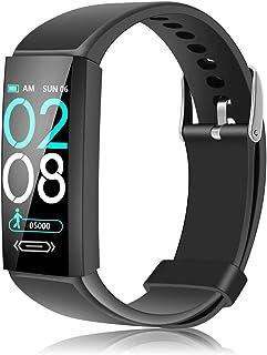 KANINO Monitor de actividad física con pulsómetro, podómetro, calorías, reloj deportivo impermeable IP68 para Android iOS teléfono