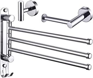 ESOW 3-Piece Bathroom Hardware Set, SUS304 Stainless Steel Polished Chrome Finish, Bath Accessories Set Wall Mounted (3-Arms Swivel Towel Bar/Rack & Bath Towel Hook & Toilet Paper Holder)