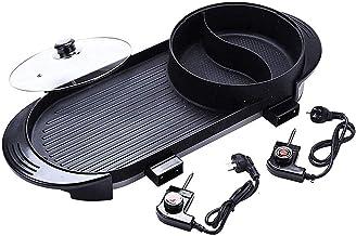 RTYUI Pot Double Pot Chaud BBQ Multifonctionnel, Pot Chaud Électrique Barbecue Électrique Intérieur 2 en 1 Poêle Antiadhés...