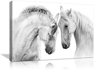 AMEMNY Two White Horse Canvas Painting Home Decor Wall Black and White Pictures Print for Living Room Art Decoration Pictures HD Prints for Home with Framed Stretched Ready to Hang