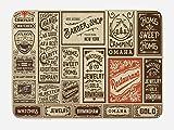 Ambesonne Antique Bath Mat, Composition of Old Advertisement Designs Newspaper Nostalgia Illustration, Plush Bathroom Decor Mat with Non Slip Backing, 29.5' X 17.5', Cream Brown Orange