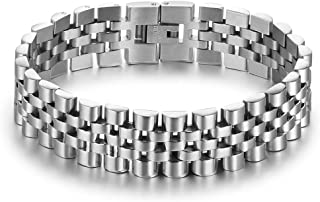 ROSI Jewelry Men's Stainless Steel Chain Classic Watch Band Bracelets for Men 8 Inches