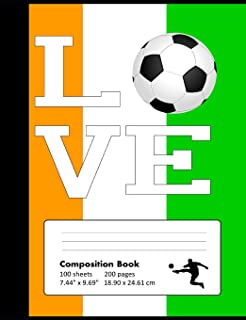 Composition Book Wide Ruled: School Notebook with Ivory Coast Flag Cover for Soccer Lovers