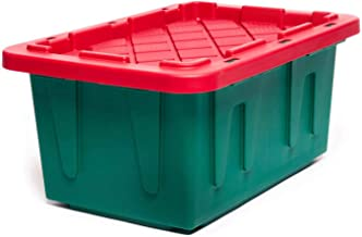 HOMZ 15 Gallon Durabilt Tough Base Lid, Set of 6 Heavy Duty Holiday Storage Container, Green and Red