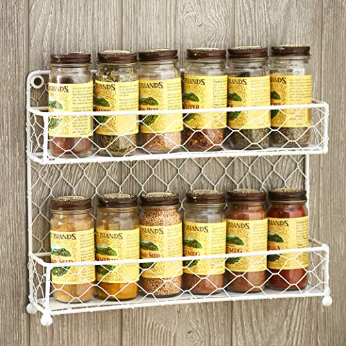 Chicken Wire Hanging Spice Rack with Farmhouse Design - White