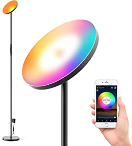 Zglon LED Floor Lamp,Super Bright RGBCW 25w Smart WiFi Color Changing Floor Lamp, Dimmable Torchiere,Compatible with Alexa & Google Home for Reading,livingroom,Bedroom,Black
