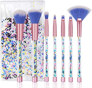 Cute Makeup Brush Set 7PCS, Professional Make Up Brushes Quicksand Sequins Acrylic Handle Eye Shadow Blending Concealer Face Fan Special Blue Cosmetic Brush for Girl