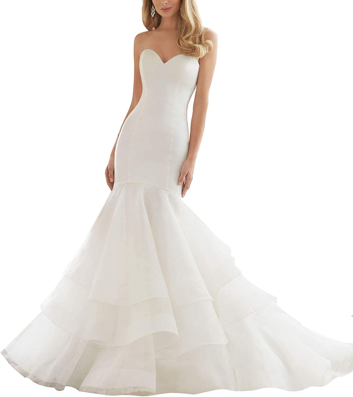 Wanshaqin Women's Mermaid Sweetheart Wedding Dress Aline Organza Ruffles Bride Gowns Plus Size