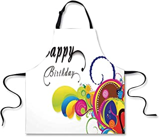 iPrint Cooking Apron,Birthday Decorations,Spiral Colorful Abstract Floral Elements Modern Greeting Card Inspired,Multicolor,3D Print Apron.29.5