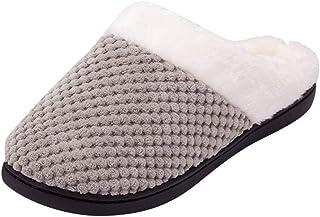 Women Men Knitting Warm Slippers, Ladies Solid Plush Soft Warm Winter Anti-Skid Home Slipper Shoes