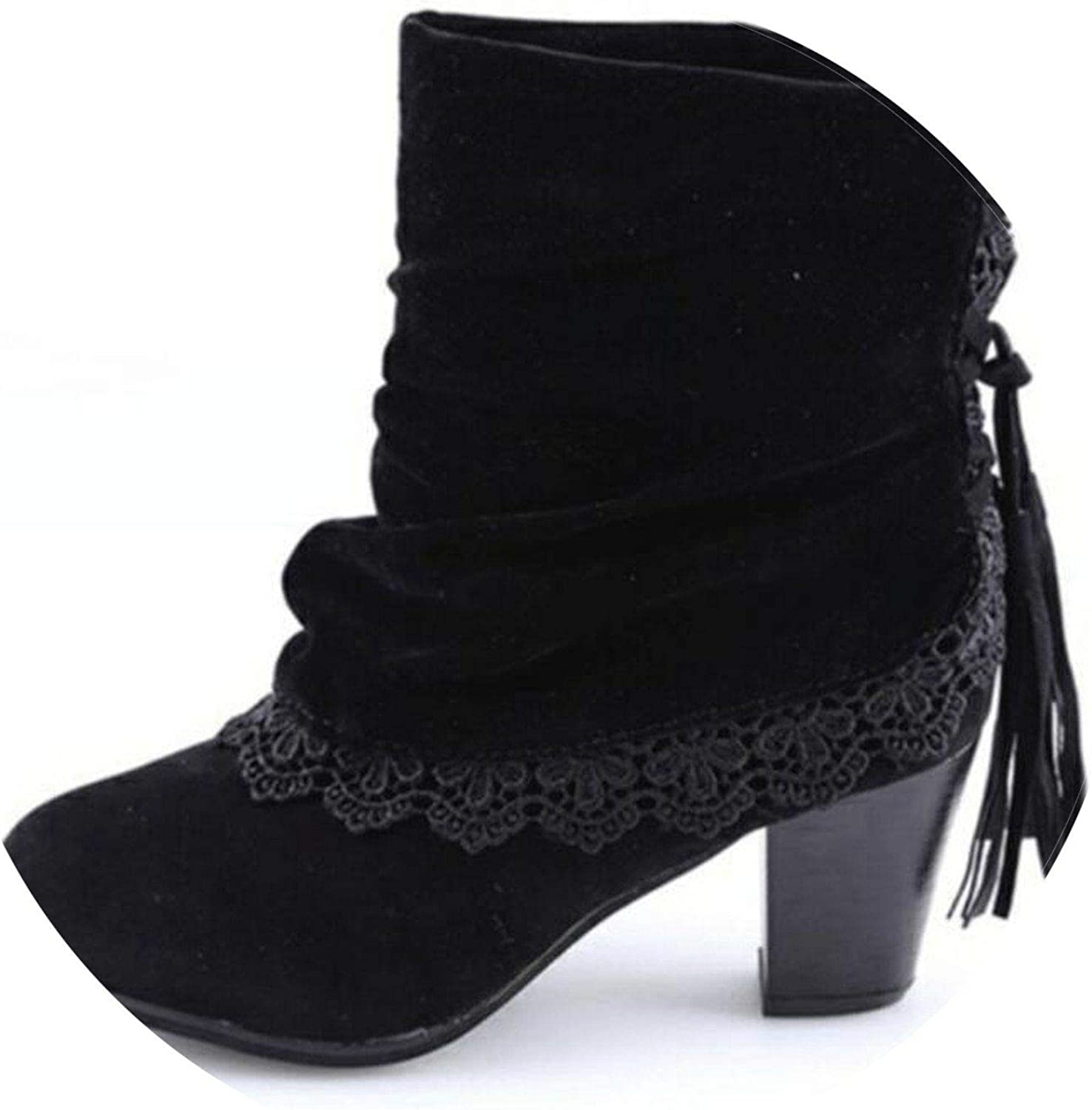 Autumn Winter Women Boots Casual Martin Boots Suede Round Head Ankle Boots High Heeled Tassel Lace