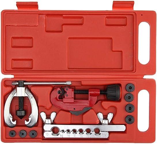 EDFDJED Frein Tuyau d'essence Réparation Matrices à évaser Double Ensemble d'outils Kit de Serrage Coupe-Tube
