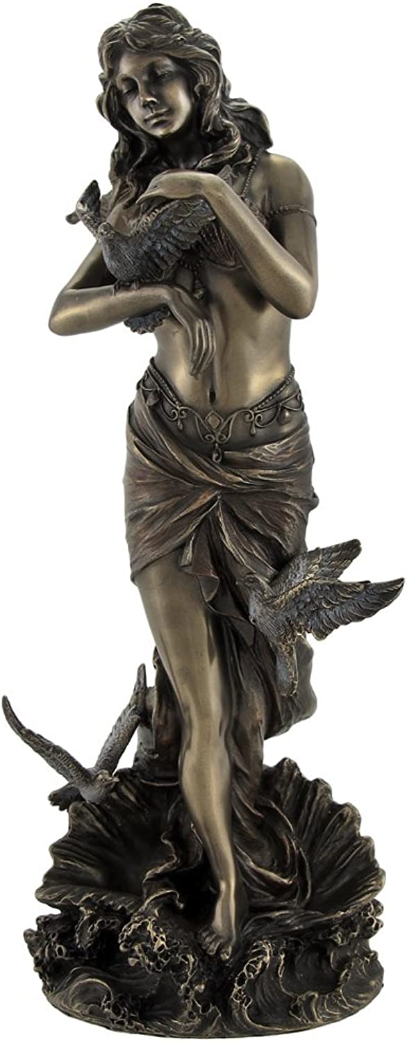Veronese Bronzed Aphrodite with Doves on Scallop Shell Statue