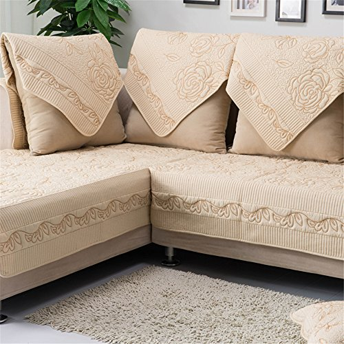 """OstepDecor Multi-Size Pet Dog Couch All Seasons Embroidered Rose Quilted Cotton Furniture Protectors Covers for Sofa, Loveseat   Backing and Armrest Sold Separately, Beige 36"""" W x 36"""" L (90 x 90cm)"""