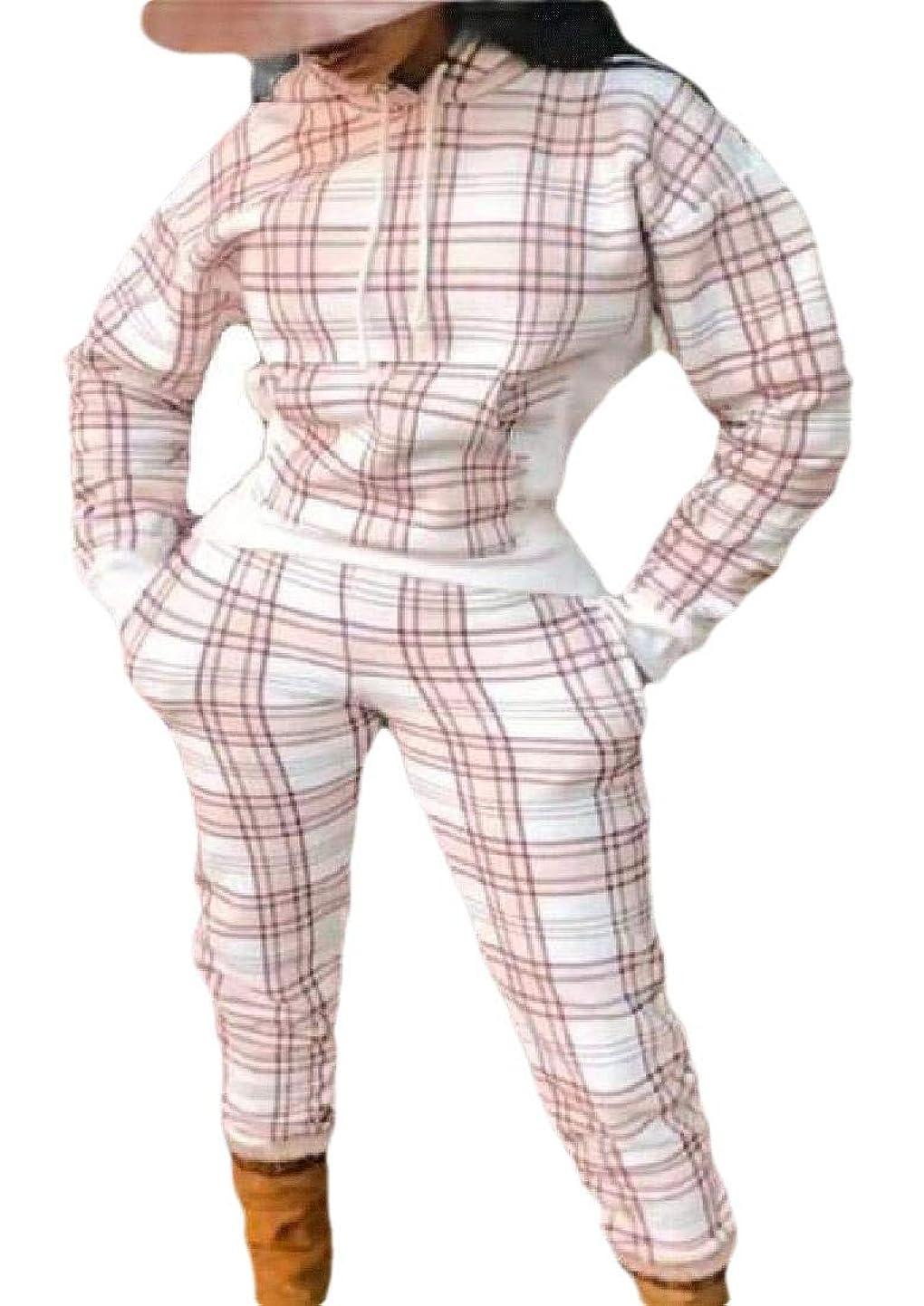 極めて避けられない祝福するWomen 2 Piece Outfits Plaid Hoodie +Pants Casual Tracksuit