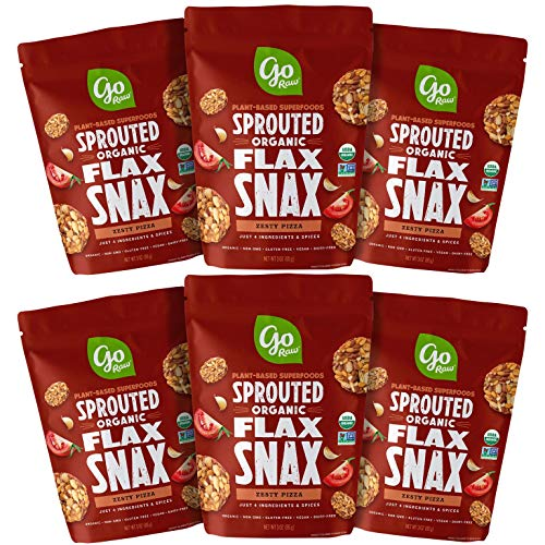 Go Raw Superfood Flax Snax Gluten Free Crackers Zesty Pizza 3 oz Bags Pack of 6 — Keto | Organic | Vegan | Paleo | Natural