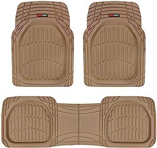 FlexTough Contour Liners-Deep Dish Heavy Duty Rubber Floor Mats for Car SUV Truck & Van-All Weather Protection (Tan Beige)