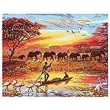 Pintar por Numeros Adultos, Pintura por Numeros con Pinceles y Pinturas, DIY Conjunto Completo de Pinturas para el Hogar con Marco (40*50cm, África Puesta De Sol Manada De Elefantes)