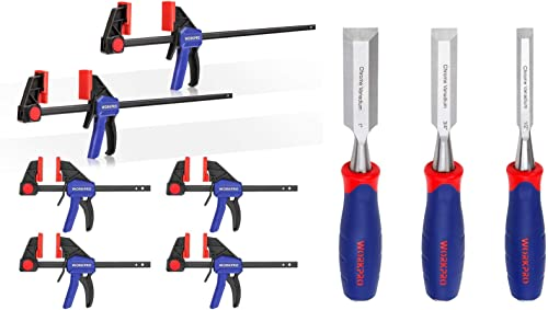 2021 WORKPRO 6-pack Bar new arrival Clamps and 3-piece Chisel Set for popular Woodworking sale