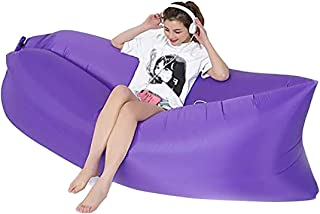 100kg 45.7 x 37.8 x 32.7inch Inflatable Flocking Lazy Sofa with Foot Stool,Easy to Storage and Portable Lazy Sofa,for Home Rest or Outdoor Rest,Load Bearing Inflatable Lazy Sofa