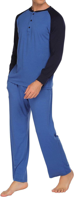 Ekouaer Sleepwear Men/'s Pajama Set Long Sleeve Sleep Top and Long Lounge Pants Soft Pjs Set S-XXL