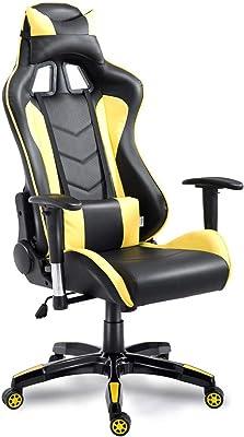ゲーミング座椅子 ゲーミングチェア 180度リクライニング ハイバック 可動肘 ヘッドレスト (yellow and black)