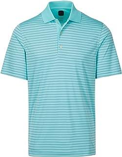 قميص بولو جولف رجالي من Greg Norman Ml75 Protek Micro lux Stripe ، زجاج البحر، صغير