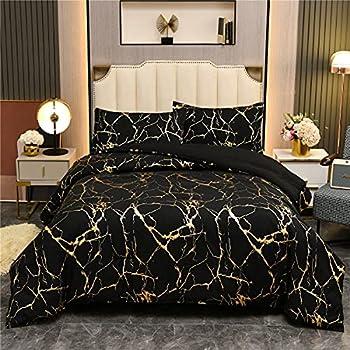 Holawakaka Gold Metallic Marble Comforter Set Full/Queen Size Foil Print Glitter Bedding Set Black/Gold