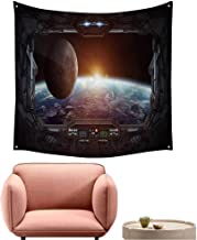 alsohome Tapestry Polyester Fabric Print Wall Hanging Tapestry for Living Room Bedroom Dorm Window View of Planet Earth from A Space Station ' D Rendering' 'Elements Furnished 39