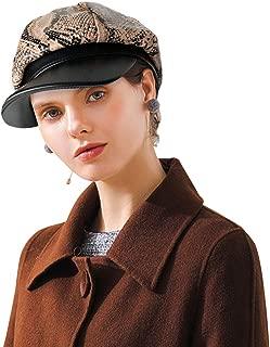DOCILA Unique Snakeskin PU Leather Newsboy Hats for Women Vintage Animal Print Winter Visor Beret