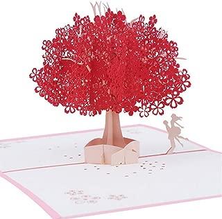 Mengger Tarjeta de Felicitación Emergente 3D Cumpleaños Regalo Hecho a Mano para Feliz Navidad Aniversario Amistad Invitación de Boda Suerte Día la Madre San Valentín Flor de Cerezo y Pareja