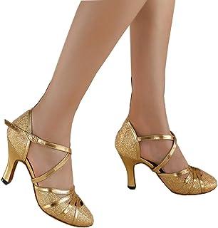 5a9285286420d MUYII Souliers Latins Des Femmes Avec Des Chaussures De Danse Moderne D or  Adulte Chaussures