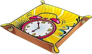 Vockgeng Réveil Rose Boîte de Rangement Panier Organisateur de Bureau Plateau décoratif approprié pour Bureau à Domicile t...