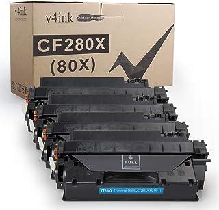 V4INK 4PK Compatible Toner Cartridge Replacement for HP 80X CF280X 80A CF280A Toner Ink High Yield for HP LaserJet Pro 400...