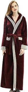 Elonglin Bathrobe Hooded, Women Men Flannel Fleece Full Length Dressing Gowns Thickened Housecoat Sleepwear Large Size Nig...