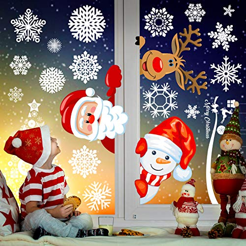 Joy Day Christmas Double Side Window Clings 8 Sheets 277 PCS Christmas Window Decorations Static Window Clings for Window Xmas Santa Reidder Window Decals Kids Window Stickers Clings