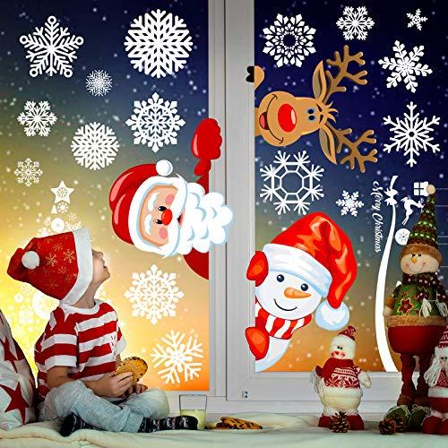 Joy Day Christmas Double Side Window Clings 8 Sheets 277 PCS Christmas Window Decorations Static Window Clings for Window Xmas Santa Reidder Window Decals Kids Window Stickers Clings