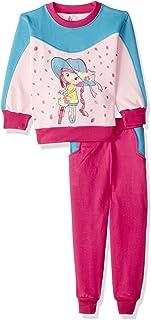 Jockey Girl Print Long Sleeves Round Neck Sweatshirt with Pants Pajama Set for Girls