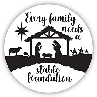 Every Family Needs A Stable Foundation Nativity Auto Magnet Decal, 6 Inch