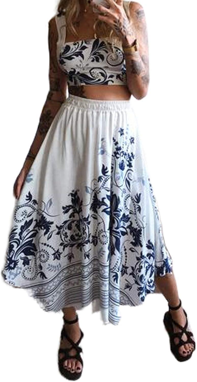 Women Folk-Custom Elastic High Waist Dress Floral Freshness Casual Fashion Slim Long Skirt