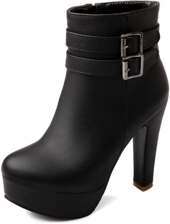 AmoonyFashion Womens High Heels PU Soft Material PU Solid Boots Chunky Heels Platform, Black, 7.5 B(M) US