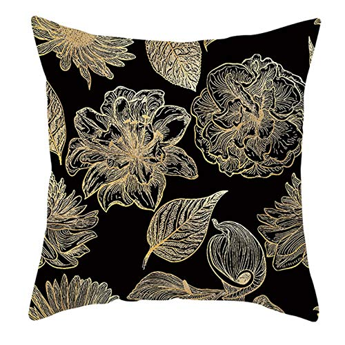 KnBoB Funda Cojin Patrón de Flor de Hoja Poliéster 50 x 50 cm Negro Amarillo Estilo 7