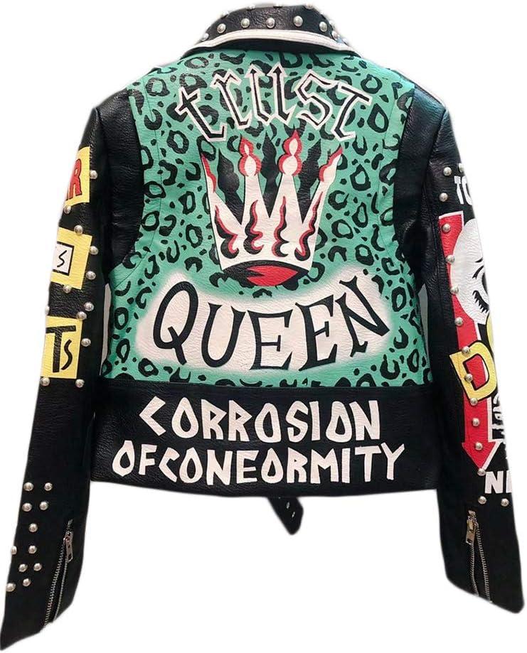 shuxiu Womens Faux Leather Plus Size Motorcycle Jacket Leopard Printing Studded Short Biker Coat